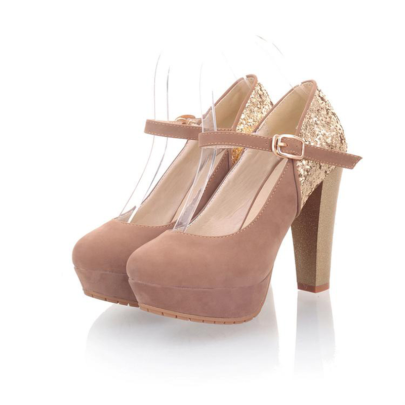 New Fashion Round Toe Platform Square Heel Ankle Strap Mary Jane Pumps For Women Luxury Glitter Patchwork High Heels Women Shoes<br><br>Aliexpress