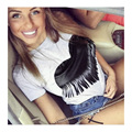 Summer Top 2016 New Casual Tassel Heart T Shirt Women Stylish Tee Shirt Femme Fashion Graphic