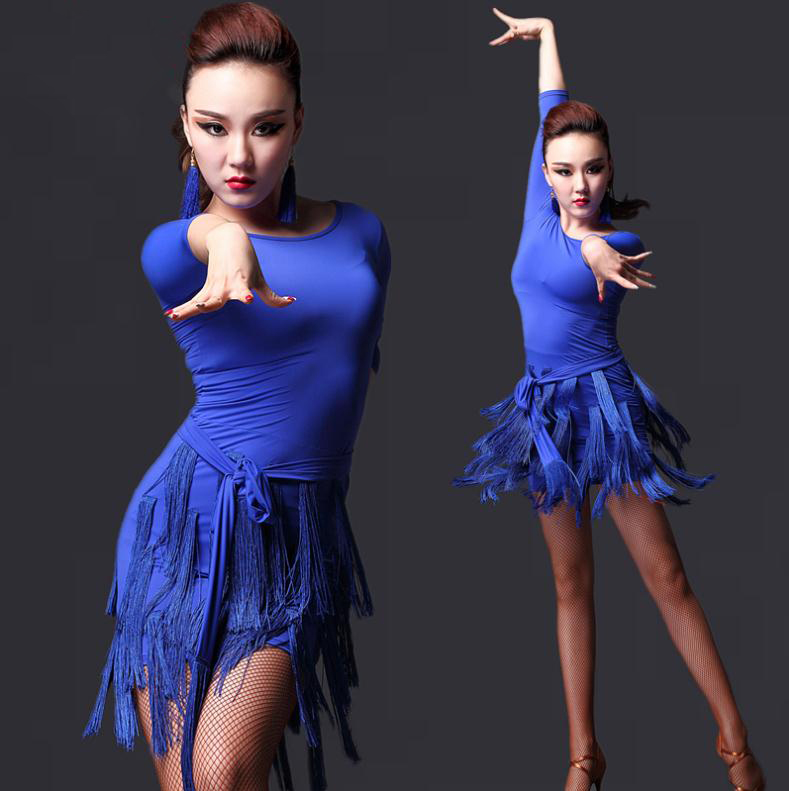 New style latin dance costumes sexy ice silk tassel latin dance dress for women latin dance dresses M L XL L323Одежда и ак�е��уары<br><br><br>Aliexpress