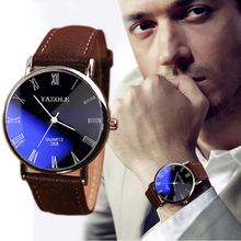 HOT! New Design men Watches Roman Numerals Faux Leather Analog Quartz Men Casual Relogio Hours Wrist Watch