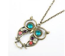 Fashion Bronze Cute Owl Necklace With Big Eye Pendant Vintage Rhinestone  Necklace(China (Mainland))