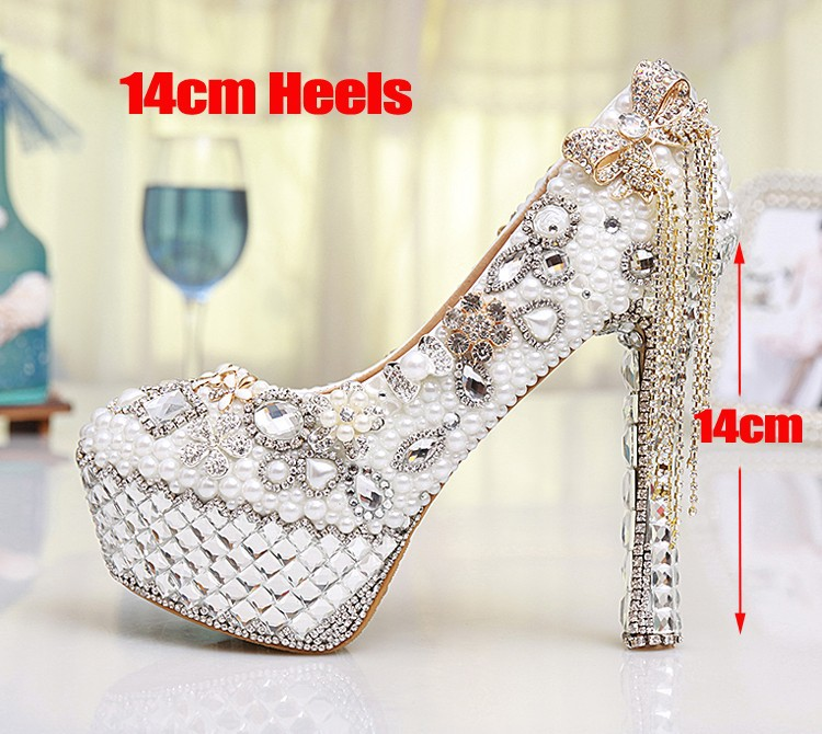 Gorgeous White Ultra High Heels Women's Bridal Dress Shoes Prom Heels  Crystal Rhinestone Bride Shoes Pearl Wedding Pumps Women