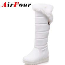 Airfour Conejo Punta Redonda Botas de Invierno Las Mujeres Rodilla Botas Altas Tamaño 34-42 de Plataforma Negro Blanco Rojo Zapatos de Mujer Botas de Nieve Caliente de la Piel(China (Mainland))