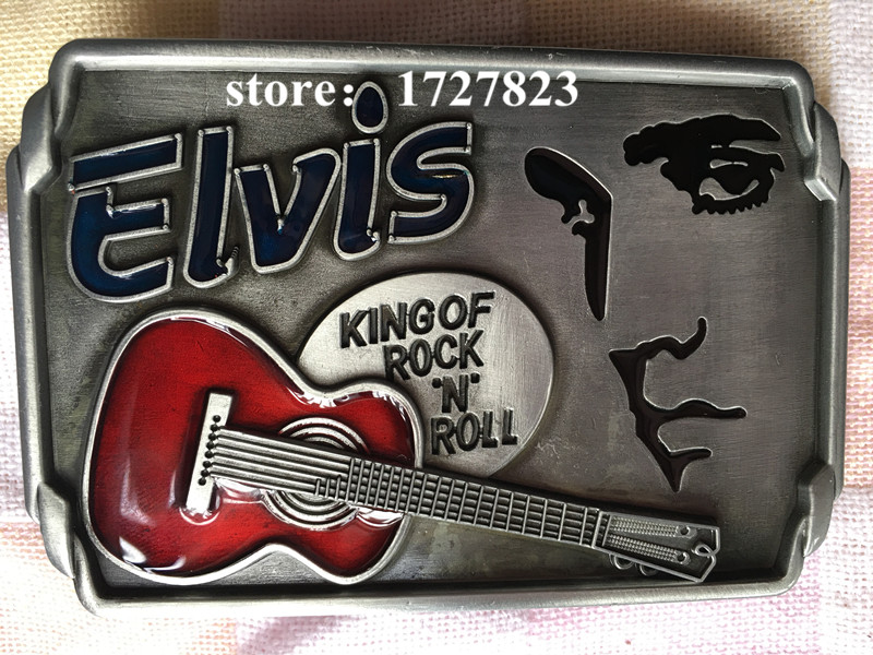Elvis music guitar Metal silver music belt buckles unique Red Cowboy Profession belt buckle Western Turbo Nos Tunning Retail(China (Mainland))