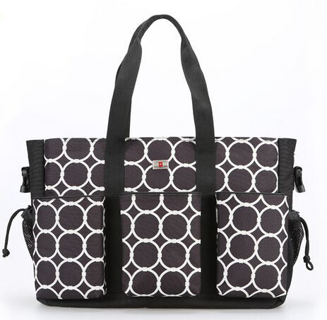Golden supplier multifunction high quality durable black dot print fabric 600D diaper bag with three big front pocket(China (Mainland))