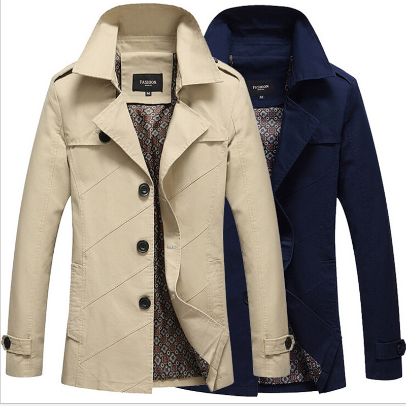 2016 Autumn Spring Mens Khaki jacket Trench Coat Slim Fit Men Long Coat 5XL Stand Collar Hommes Mens Business Coats & Jacket(China (Mainland))