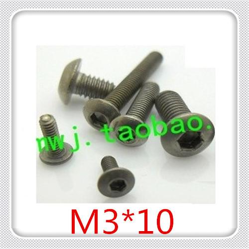 50PCS High Quality  M3*10 Pan Head Hexagon Socket Titanium Cap Screw<br><br>Aliexpress