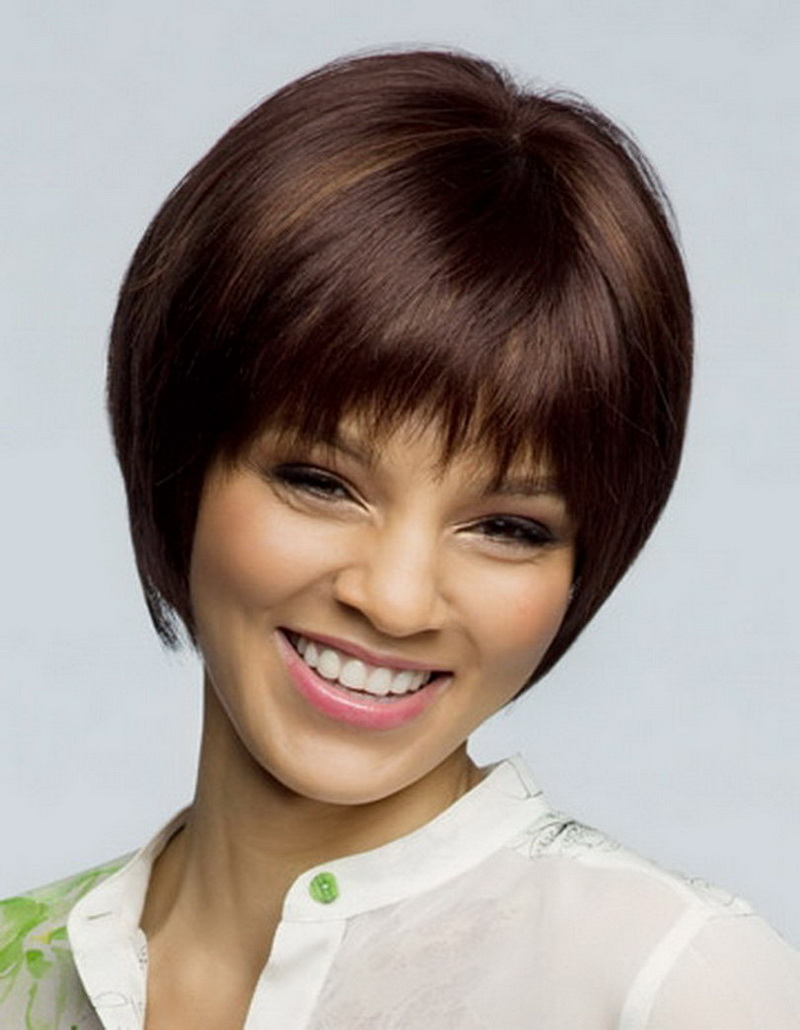 8inch Heat Resistant Synthetic Straight Highlights Brown Short African American Bob Wigs For Middle Age Women Perucas <br><br>Aliexpress