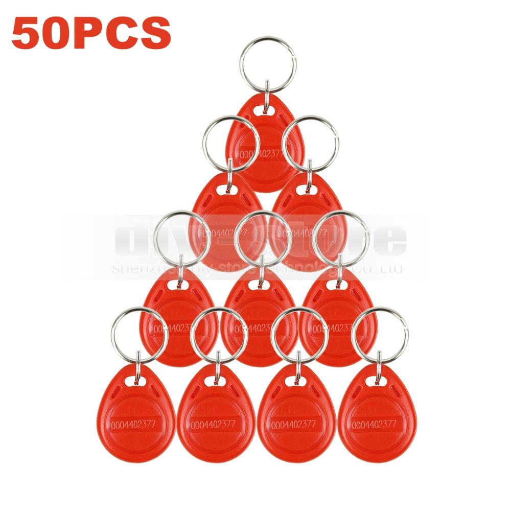 50pcs/lot 125Khz RFID Proximity Card Key Keyfobs For Access Control System RFID Reader Use Red(China (Mainland))