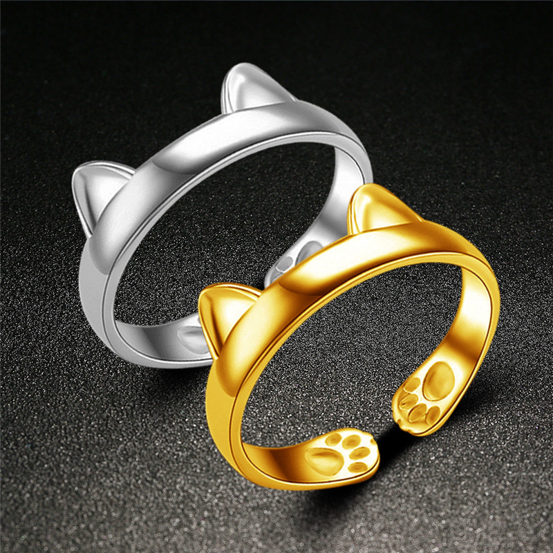 Cute Ear Cat Stainless Steel Ring Women Outdoor Self-defense Finger Ring(China (Mainland))