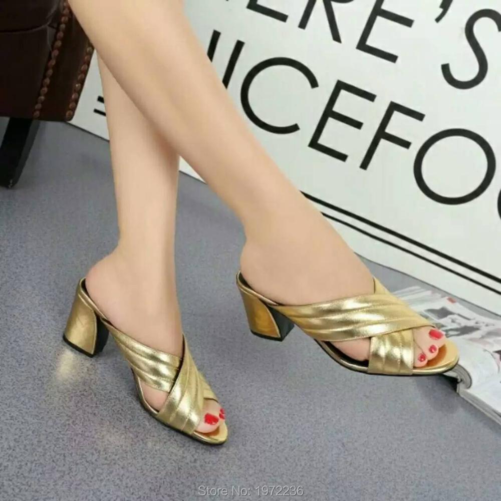 Фотография 2016 Luxury Brand Designer Platform High Heels Women Slippers Fashion Sexy Woman High-heeled Sandals Genuine leather shoes