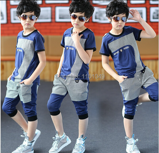 new 2015 summer fashion big teenage boys kids children clothing sets casual sports suit outfits t shirts harem breeches shorts(China (Mainland))