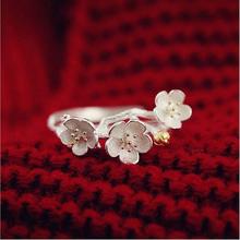 2016 Новый Ювелирные Изделия Стерлингового Серебра Регулируемые Кольца Cherry Blossom Мода Лето Филиал Золотые Цветы Кольца Для Женщин C312(China (Mainland))