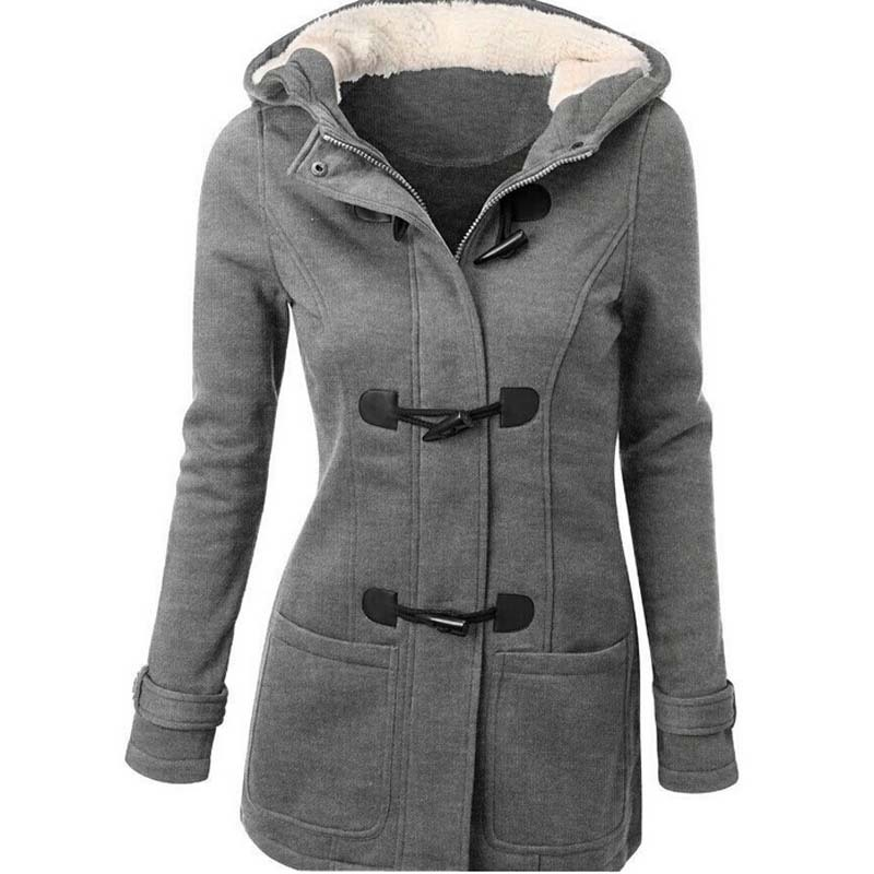 Winter Coat Women 2015 New Fashion Women Wool Blends Slim Hooded Collar Zipper Horn Button Coats