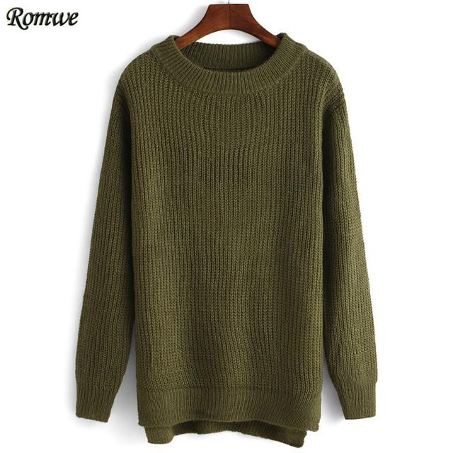 Romwe весна женщины моде обычная топы дешевые шею боковыми разрезами армия-зеленый ...