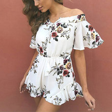 Buy Summer Strapless Rompers Womens Jumpsuit Slash Neck Shoulder Bodysuit Women Sexy Flowers Short Sleeve Femme Jumpsuit for $13.49 in AliExpress store