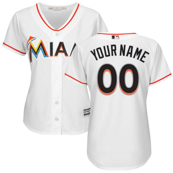 MLB Women's Miami Marlins Custom Jersey Cool Base Player Jersey - White Baseball Jerseys(China (Mainland))