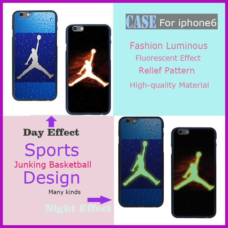 Wholesale For iphone6 4.7inch Cell phone Case hot sale dunking basketball new design fluorescent case Relief Luminous Cover(China (Mainland))