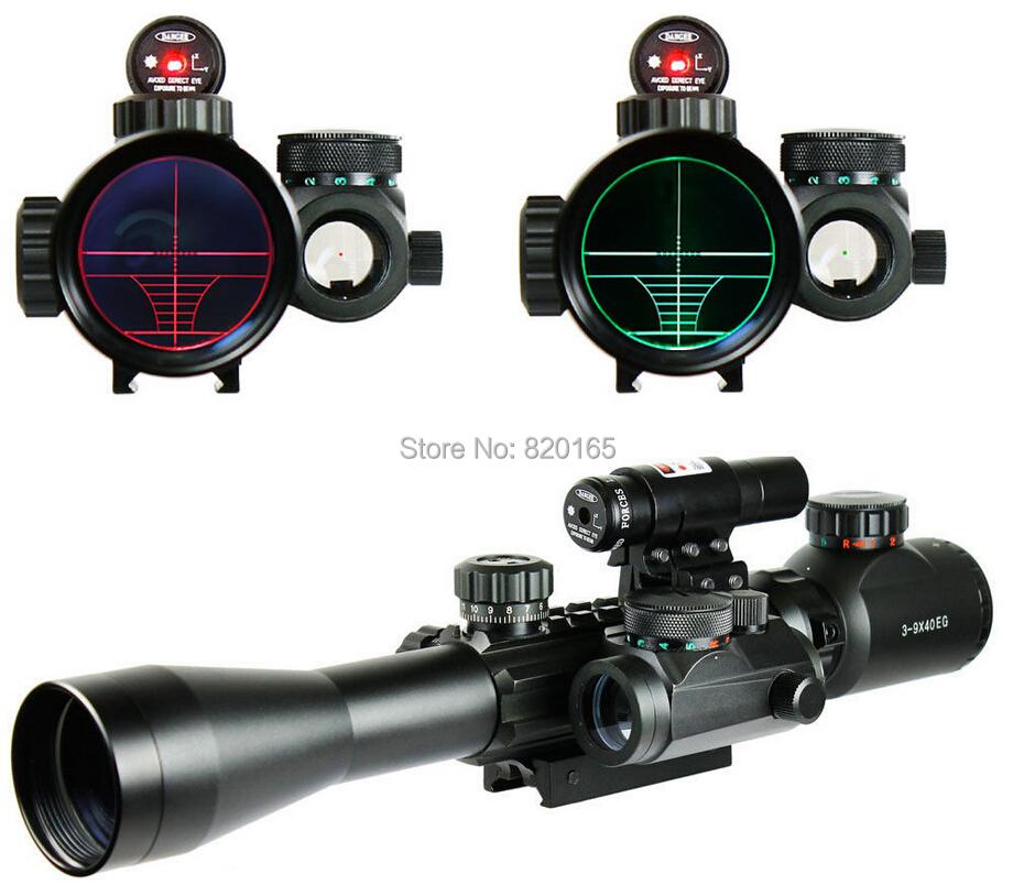 Optics Rifle 3-9X40 Illuminated Hunting Red/Green Laser Riflescope with Holographic Dot Sight Combo Airsoft Gun Weapon Sight(China (Mainland))