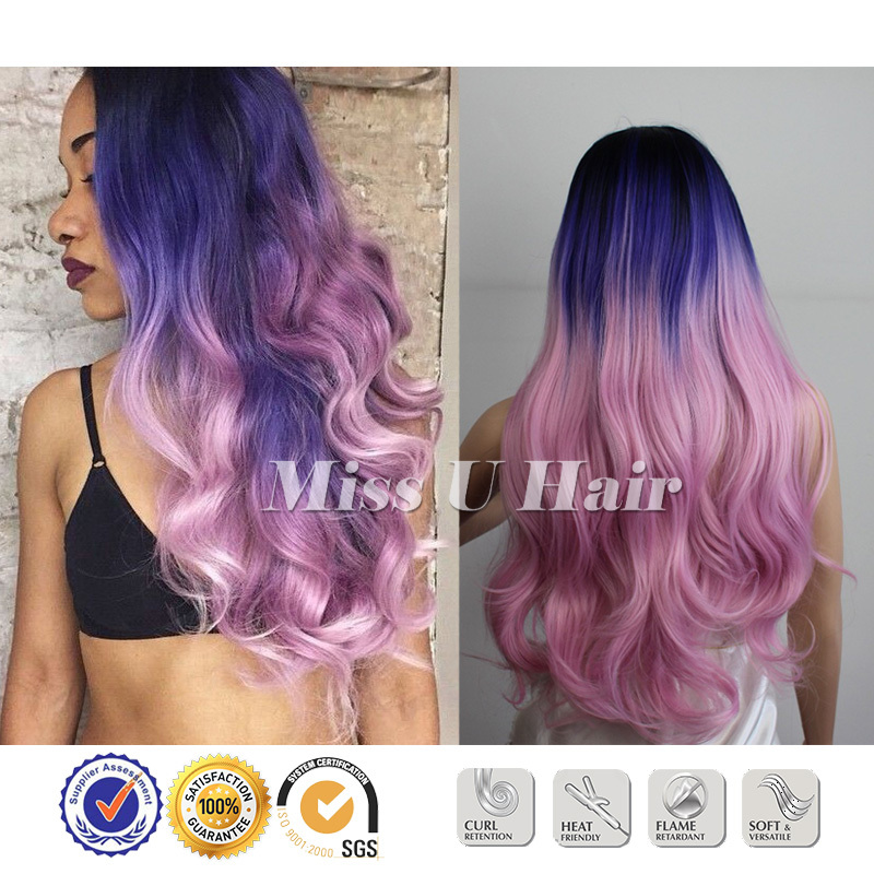 Black blue pink hair dye sexy hair colors natural wavy haircuts toyokalon hair lace front synthetic wigs(China (Mainland))