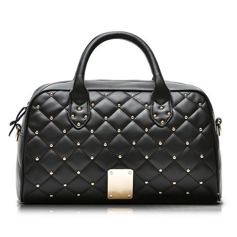 Classic women bag fashion diamond lattice rivet tote bag women shoulder messenger bags designer brand high end handbags black(China (Mainland))