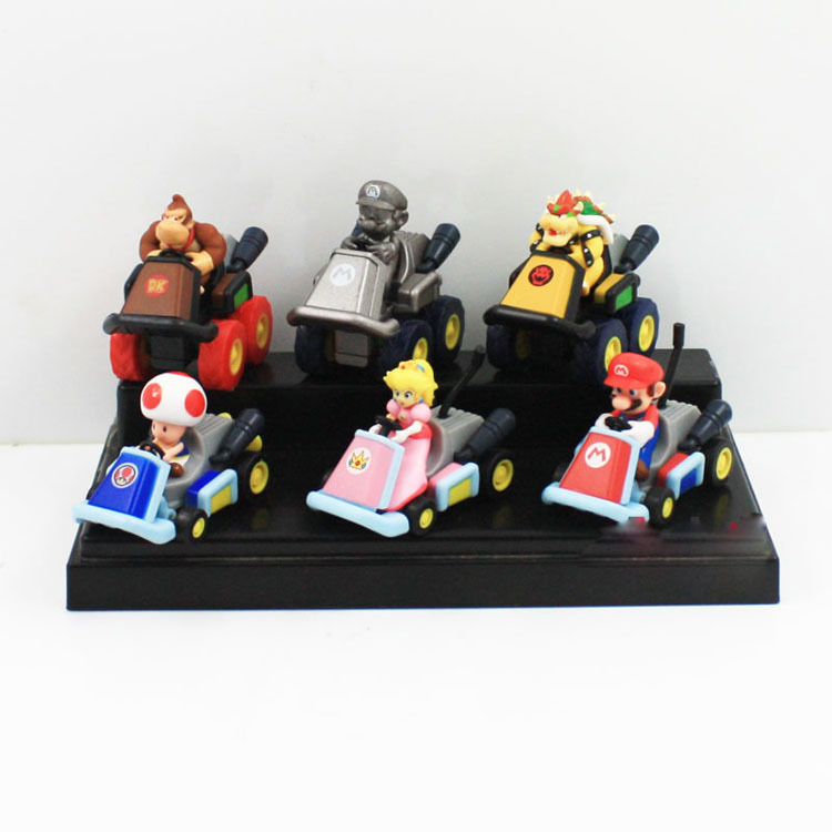 15 Sets Super Mario Bros Kart Pull Back Cars Mario Bowser Koopa Princess Toad Action Figures For Children Free Shipping 6pcs/lot<br>