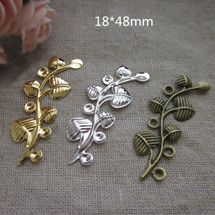 Free Shipping - 60 pcs Metal Stamping Branch Leaves,18*48mm Decorative items For Handmade Crafts,Gold / Silver / Steel / Bronze(China (Mainland))
