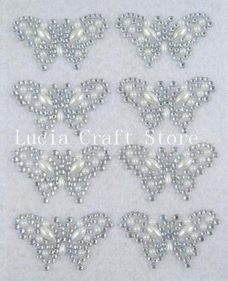Clear Color 4*2.5cm butterfly Design Rhinestone&Pearl Sticker( 1 sheet/lot ) 022002070(China (Mainland))
