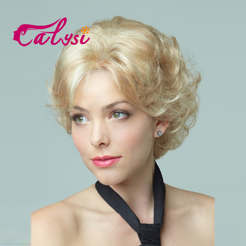Fluffy short wig blonde Synthetic Curly Short hair Wig many colors for choose free shipping SW0004-01(China (Mainland))