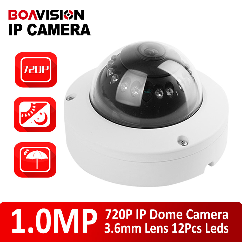 Latest 1.0 Mega pixel HD 720P H.264 12pcs IR IP Mini Dome Camera ONVIF 2.0 Indoor Outdoor IR-CUT NightVision P2P Plug and Play(China (Mainland))