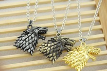 Game of Thrones House Stark Movie necklace Winter Is Coming 3D wolf head pendant(China (Mainland))