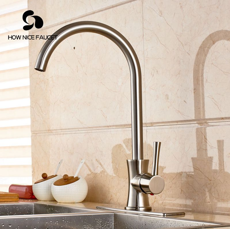 "Фотография Luxury Brushed Nickle Kitchen Sink Faucet Single Lever W/8"" Cover Plate Mixer Faucet Deck Mount"