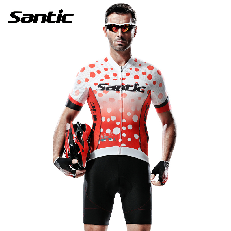 Santic Professional Cycling Jersey Cycling Clothes Red Dots Printed Breathable Mountain Road Bike Jersey Shirts Ropa Ciclismo