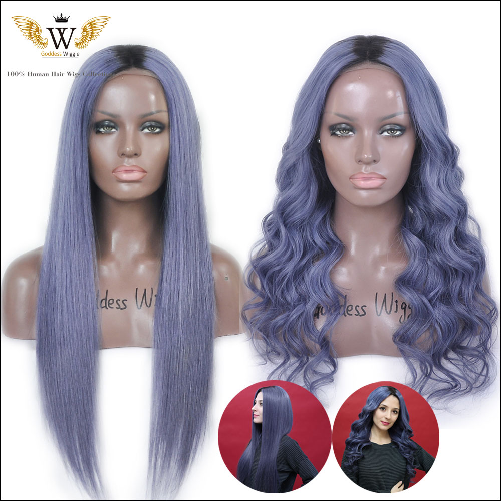 7A 130 Density Dark Blue Gray Human Hair Front Lace Wigs Brazilian Virgin Ombre Gray Full Lace Wigs Dark Root Two Tone Lace Wigs
