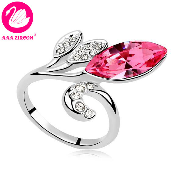 """Free Shipping!!! Women's 18K White Gold Plated Pink """"Three-Leaf Clover"""" Crystal Ring Made With Swarovski Elements (8193)(China (Mainland))"""