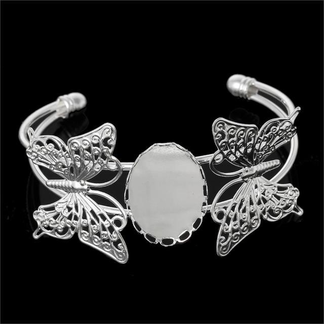 Медь браслеты браслеты бабочка посеребрение кабошон настройки ( подходит 25 мм х ...