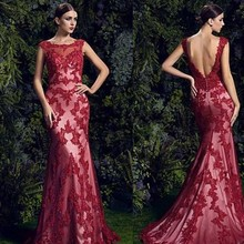 Buy Evening Dresses 2016 Sexy Backless Long Mermaid Burgundy Lace Appliques Sheer Formal Evening Gowns Dress vestido de festa longo for $167.32 in AliExpress store