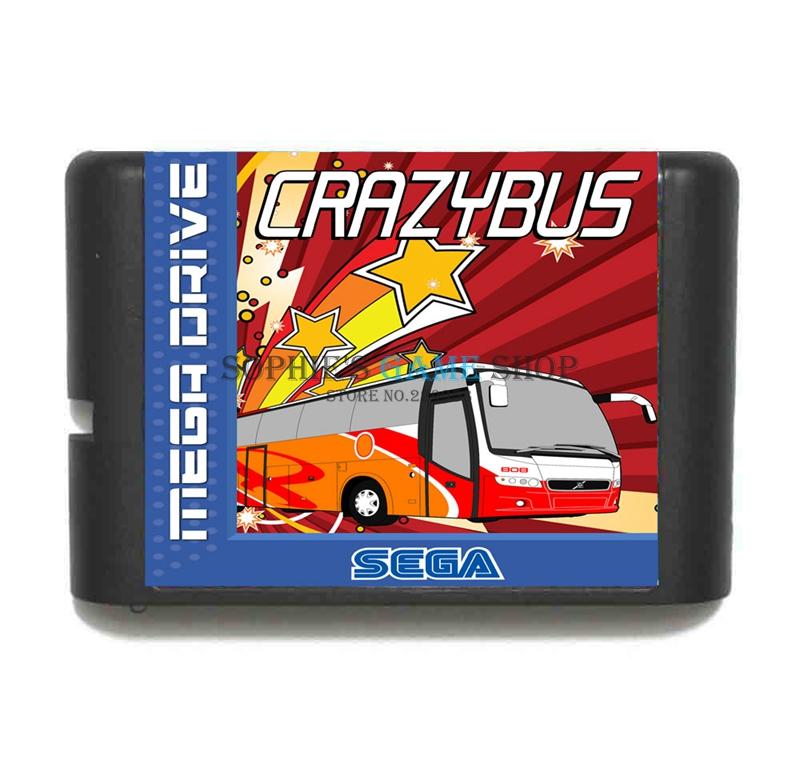 Crazy Bus Game Cartridge Newest 16 bit Game Card For Sega Mega Drive / Genesis System(China (Mainland))