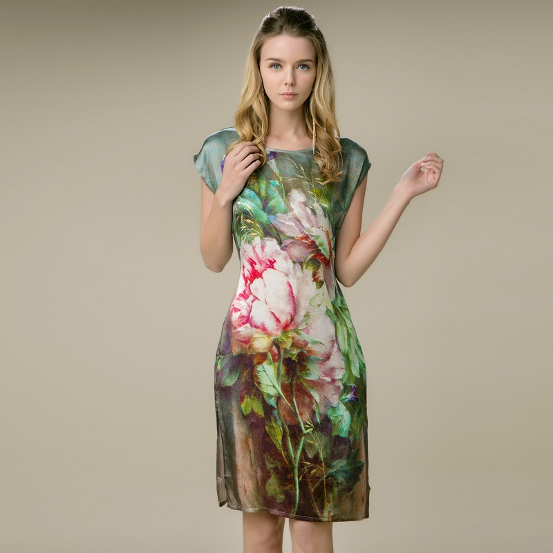 2014 New O Neck Sleeveless Women Green Floral Print 100% Silk Dress/ Summer Dress/ Causal Dress ...