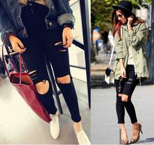 2015 hohe taille jeans frau Knie skinny bleistift hose schlanke jeans riss Boyfriend-Jeans für frauen schwarz zerrissenen jeans für frauen(China (Mainland))