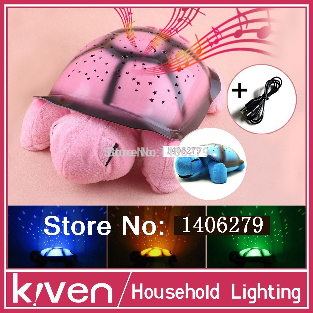 Kid/Children Toys Turtle LED Night Light + USB Cable Music Light Mini Projector lamp 4 Colors 4 Song Star Lamp birthday Gift(China (Mainland))