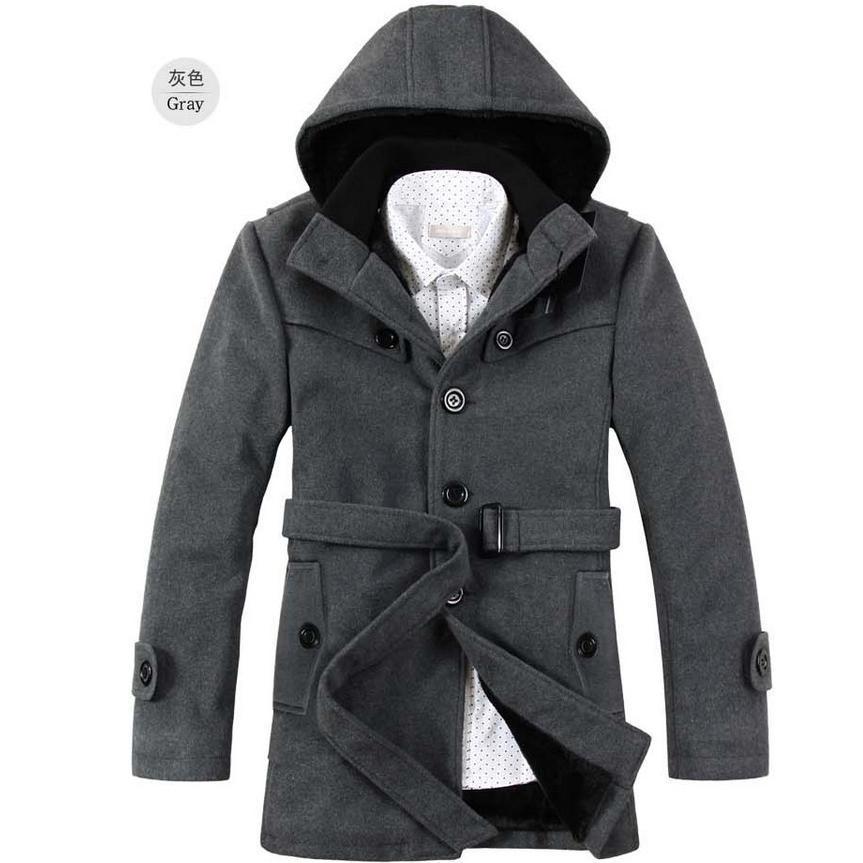 Korean Style Slim Fit Mens Pea Coat With Hood woolen ...
