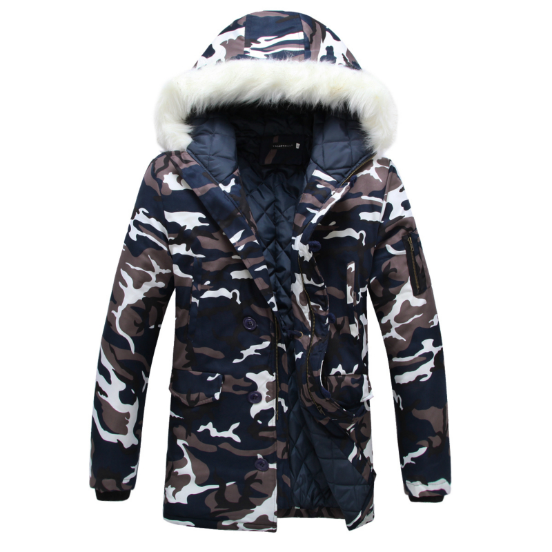 Camouflage Down Parkas Jackets 2016 Men's Parka Hooded Coat Male Fur Collar Parkas Winter Jacket Men Military Down Overcoat(China (Mainland))