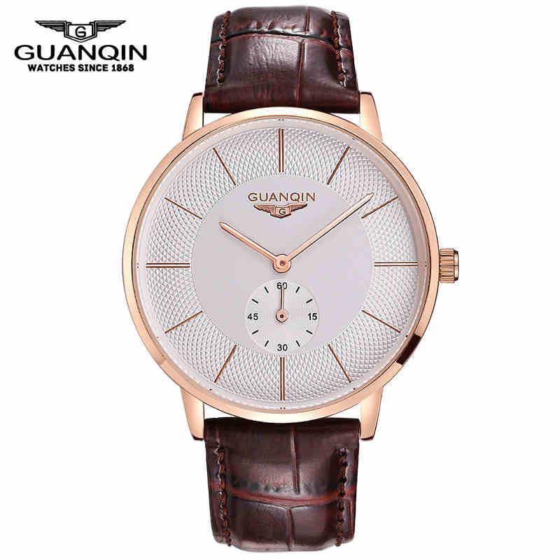 Original Big Dial GUANQIN Watch Men Luxury Brand Mechanical Watch Fashion Business Casual Wristwatch Leather Male Watches Clock(China (Mainland))