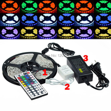 Best Price 5050 300 5M RGB LED Strip SMD 60led/m Waterproof + 44key IR Remote Controller + 12V 5A Power Adapter(China (Mainland))