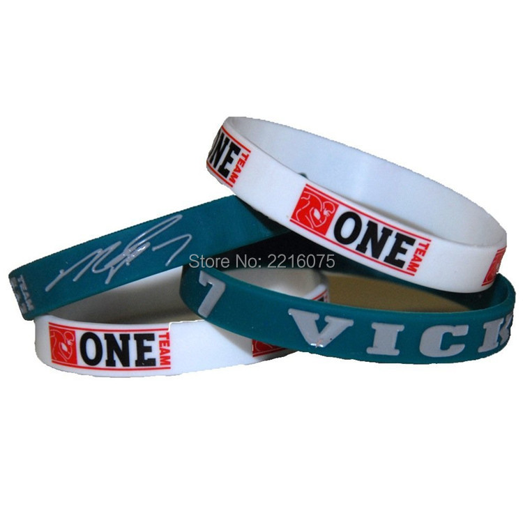 300pcs One Team NFL Philadelphia #7 Michael Vick wristband silicone bracelets free shipping by DHL express(China (Mainland))