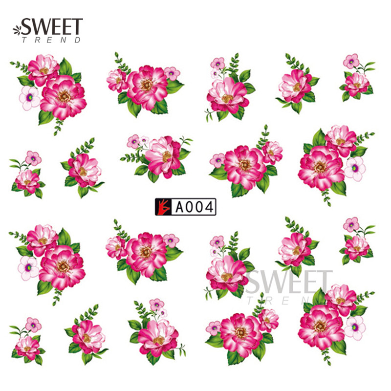 1 Sheet Blooming Flower Nail Art Water Transfer Stickers New Design Nail Art Tips Decoration Manicure Decals A004(China (Mainland))