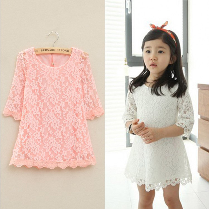 5 Colors New 2015 Casual Children Kids Girl's Dresses Spring Summer Mom Girls Lace Dress Princess Mini Dresses Kid Baby Clothes(China (Mainland))