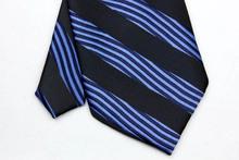 ST003 Blue Black Stripes Fashion Jacquard Woven Silk Tie Gravata Casual Neckties For Man Business Wedding