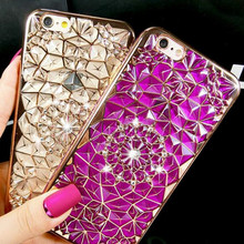 Buy Luxury 3D Rhinestone Bling Case Samsung S8 S6 edge S7 edge Soft Silicone Thin Cover Diamond Electroplating Flower Phone Case for $1.51 in AliExpress store